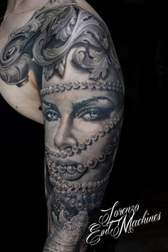 Woman, Shell, Pearls and Beauty Realistic Tattoo by Lorenzo Evil Machines, Roma - Italia
