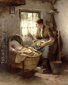 Motherly Affection by Johannes Weiland - Reproduction Oil Painting Old Paintings, Beautiful Paintings, Decoration Photo, Illustration Art, Illustrations, Cottage Art, Dutch Artists, Victorian Art, Oil Painting Reproductions