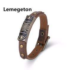 Lemegetons Free shipping  Brown Genuine Leather Bracelet Bangle For Men Jewelry Fine Gifts Buckle 1.2cm Length Adjustable