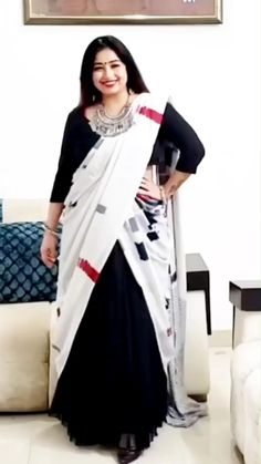 Black Lehenga, Lehenga Saree Design, Sari, Saree Wearing Styles, Saree Styles, Half Saree Designs, Saree Blouse Designs, Stylish Sarees, Stylish Dresses