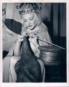Actress Paula Raymond... knitting chain-mail circa 1954