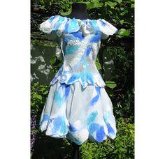 Nuno felt artistic design dress. Natural silk, the softest Australian merino wool in light and dark blue and white colours over a White shiffon silk and