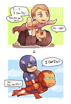 Tony helping Cap fly, pinned from http://clara-belle.tumblr.com/post/34489713610/now-i-have-posted-all-the-hard-yaoi-i-have-you#