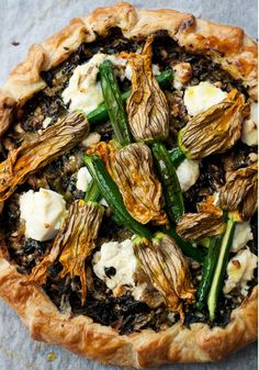 Corsican Pie with Courgette Flowers by Yotam Ottolenghi from the book Plenty Yotam Ottolenghi, Ottolenghi Recipes, Ottolenghi Plenty, Quiches, Cheesecakes, Zucchini Flowers, Zucchini Tart, Vegetarian Pie, Mediterranean Dishes
