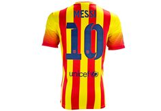 Leo Messi!   The 2013/14 Nike Messi Barcelona Away Jersey is a favorite! Free Shipping and $114.99 sticker price make it a good buy.