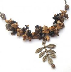 Antiqued Brass Leaf Jasper Black Agate Necklace