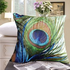 "- Elegant Decorative Throw Pillow Cover - Peacock Feathers Design on Both Sides - Soft Velvet Fabric - Return Shipping Covered for Continental US Regions""."