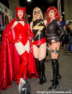 Scarlet Witch, Ms. Marvel, by The d'Arda Sisters, Black Widow by Nicole Salera Cosplay at SDCC 2014   Flickr - Photo Sharing!