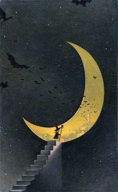 Dark Side of the Moon by Kelly Murphy (via Pinterest) Illustrations, Illustration Art, Ciel Nocturne, Moon Witch, Sun Moon Stars, Moon Magic, Beautiful Moon, Halloween Art, Halloween Images
