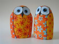 paper mache Owls orange&yellow with light blue