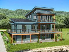 062H-0283: Mountain House Plan Designed for a View Duplex House Plans, Dream House Plans, Modern House Plans, Mountain House Plans, Family House Plans, Building Department, Decks And Porches, Waterfront Homes, Home Additions