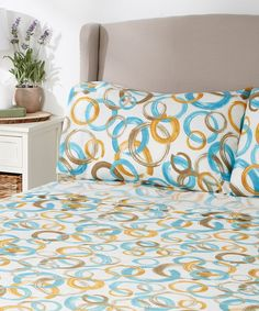 Loving this Turquoise & Gold Circle Sheet Set on #zulily! #zulilyfinds