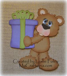 A Present Bear Premade Scrapbooking Embellishment by MyCraftopia, $4.95