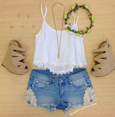 lace shorts, flower crown, beige wedge heels