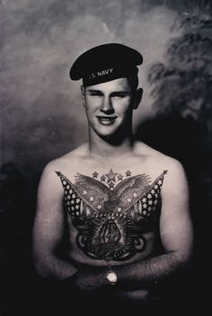 Vintage: a sailor with a patriotic chest piece by West Coast tattooist Bert Grimm Us Navy Tattoos, Old Tattoos, Tattoos For Guys, Vintage Tattoos, Vintage Photographs, Vintage Photos, Bert Grimm, Traditional Tattoo Man, History Tattoos