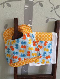 Bib and burp cloth set for baby or toddler by WithAGrandmasLove