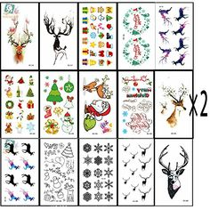32pcs Christmas Theme Waterproof Temporary Tattoos Sticker, such as Assorted with Santa, Trees, Snowman, Stockings, Elks, Hat, Cane, Bells, Gift Boxes, Wreaths,etc-by Dream Loom