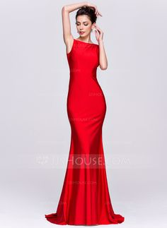 394d3861bfb5 Trumpet Mermaid Scoop Neck Sweep Train Zipper Up Regular Straps Sleeveless  No Red Spring Summer Fall General Plus Jersey Evening Dress