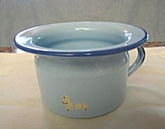 Vintage graniteware child or doll size chamber pot for sale at More Than McCoy on TIAS!