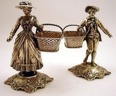 A magnificent pair of 800 silver Figural salt cellars, Hanau Germany c,1900.