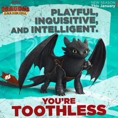 "Commanding respect from dragons and humans alike, if you possess these traits then your Dragon DNA is most like Toothless! Get ready to see Toothless and all the other dragons this January with an all-new season of ""Dragons: Race to the Edge"" on Netflix."