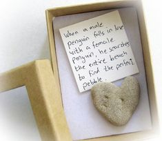 Unique Valentines Day Card For Her - a heart shaped rock in a box on Etsy, $9.80
