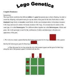Use LEGO or other building blocks to learn the concepts Punnet Square, heterozygous, homozygous, dominant and recessive....