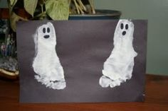 Halloween Foot Print Ghosts Craft for Kids - fun idea... Do this each year & watch how your child's foot grows!