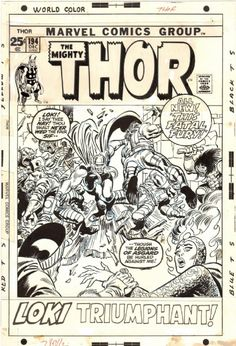 The Mighty Thor #194 Cover (1971) Comic Art Comic Book Artists, Comic Artist, Comic Books Art, John Buscema, The Mighty Thor, Amazing Spiderman, Art Auction, Cool Artwork, Art For Sale
