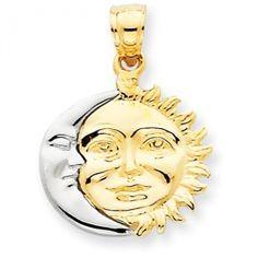 Precious Stars Jewelry 14k Tri-Tone Gold Polished Sun Moon Pendant PT-1935