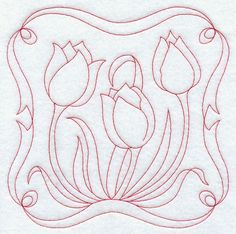 redwork flower designs | Plant cheerful Redwork tulips on tea towels, table linens, quilts, and ...