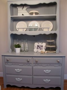 Love the gray color--inspiration for my old childhood bedroom set