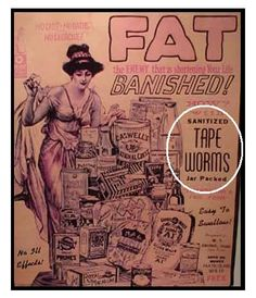 """Vintage advertisements are funny. And Sad. These are all real. Above, lose weight by swallowing tape worms! Yes tape worms are your """"frie. Creepy Vintage, Vintage Ads, Vintage Photos, Funny Vintage, Vintage Medical, Vintage Posters, Vintage Ephemera, Vintage Stuff, Vintage Tools"""