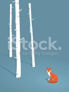 red fox in a forest royalty-free stock vector art