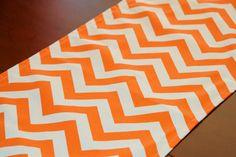 Table Runner Mandarin Orange Chevron Table Runner by Modernality2