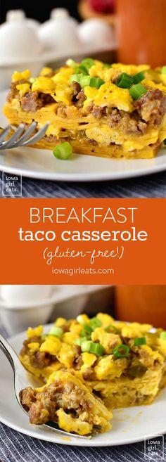 Breakfast Taco Casserole is layers of breakfast taco ingredients baked in an easy-to-eat, satisfying casserole. This gluten-free breakfast recipe reheats wonderfully, too!   iowagirleats.com