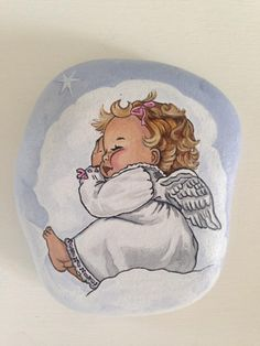 Sweetest little angel..painted on stone!
