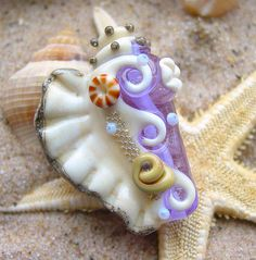 Lavender Conch Shell Focal Bead Ocean SRA Glass by artwithheart, $20.00