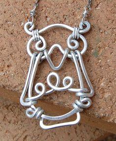 Owl Necklace Aluminum Wire Jewelry by Karismabykarajewelry on Etsy, $39.00