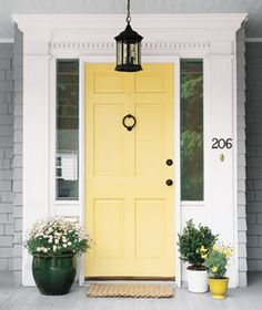 Great front door color, goes great with the grey shingles and white trim- Benjamin Moore hawthorne yellow Home Upgrades, Hawthorne Yellow, Front Door Colors, Door Inspiration, Painted Front Doors, Yellow Front Doors, Doors, Painted Doors, House Exterior