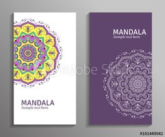 Greeting, invitation card, flyer in white, violet, yellow colors with mandala ornament. Vector ornamental mandala. Stylish geometric pattern in oriental style. Arabic, indian, pakistan, asian motif.