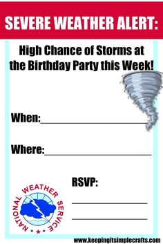 Keeping it Simple: Boy Birthday Party Idea- Natural Disasters Party with Experiments and Activities 18th Birthday Party Themes, Frozen Themed Birthday Party, Boy Birthday, Birthday Ideas, Tornados, Hurricane Party, Hurricane Storm, Snapchat, Severe Weather