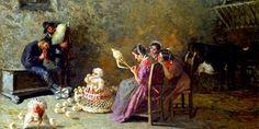 GIOVANNI SEGANTINI (1858/1899), PITTORE ITALIANO – La purezza dei colori, sopra una tela, fatta con minuscoli tratti di tenerezza – Meeting Benches