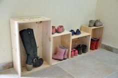 dressing à Chaussures DIY en caisse à vins