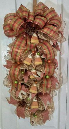 CANDY CORN FALL SWAG DECO MESH PINECONES | Home & Garden, Holiday & Seasonal Décor, Halloween | eBay!