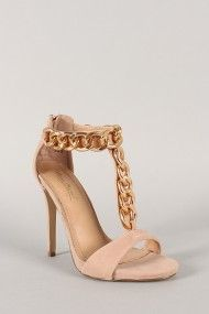 Anne Michelle Perton-20 Suede Curb Chain Open Toe Heel