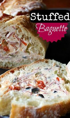 Stuffed Baguette An easy appetizer to impress your holiday guests! http://www.familyfreshmeals.com/2012/02/stuffed-baguette.html