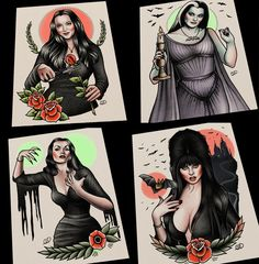 Image of Horror Vamp 4 Piece Set Morticia Vampira Lily Munster Elvira Tattoo Art Rn Tattoo, Tattoo Dotwork, Tattoo Photo, Tattoo Und Piercing, Armband Tattoo, Sanskrit Tattoo, Tattoo Lyrics, Hamsa Tattoo, Tattoo Flash