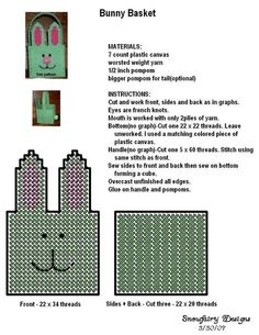 Bunny basket with plastic grids Plastic Canvas Stitches, Plastic Canvas Coasters, Plastic Canvas Ornaments, Plastic Canvas Tissue Boxes, Plastic Canvas Christmas, Plastic Canvas Crafts, Plastic Canvas Patterns, Plastic Baskets, Box Patterns