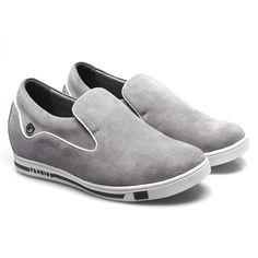 Gray Cow Leather Elevated Men's Casual Shoes With Lifts For Men;MODEL: X4925;Sale: $102.00. height casual/shoes men casual/casual elevator shoes